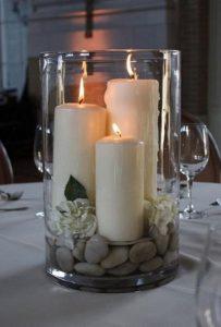 διακοσμητικά κεριά σε βάζο