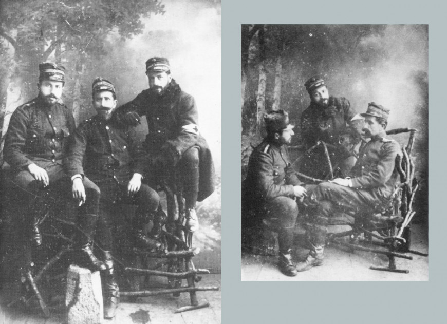 O Γεώργιος Παπανικολάου (στο μέσον και δεξιά, με το περιβραχίονο του στρατιωτικού ιατρού), στους Βαλκανικούς πολέμους
