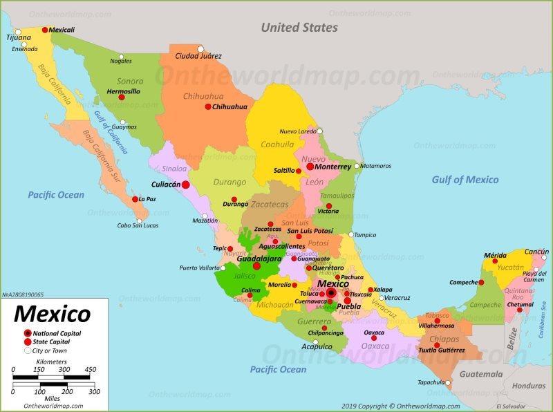 Ένας χάρτης του Μεξικό στον οποίο φαίνονται καθαρά οι διάφορες επαρχίες της χώρας και τα σύνορα με την Καλιφόρνια απ' όπου ο Τσάπο προσπάθησε να περάσει μέσω τούνελ τα πρώτα του φορτία κοκαϊνης
