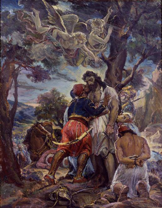 20 Μαου 1825. Μάχη στο Μανιάκι της Μεσσηνίας. Οι Έλληνες με αρχηγό τον Παπαφλέσσα ηττώνται από τους Αιγυπτίους του Ιμπραήμ Πασά. Ελαιογραφία, έργο του Ανδρέα Γεωργιάδη – Κρητός. Η σύνθεση είναι εμπνευσμένη από το «Φίλημα» του Ιμπραήμ στο νεκρό Παπαφλέσσα, ένδειξη σεβασμού και τιμής του νικητή στον ηρωικό του αντίπαλο.