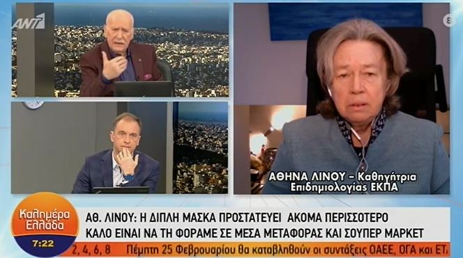 Οι δηλώσεις της Αθηνάς Λινού για τη διπλή μάσκα.