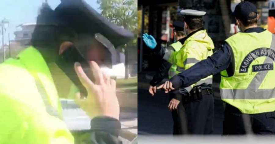 Έλεγχος αστυνομικού για το έγγραφο μετακίνησης.
