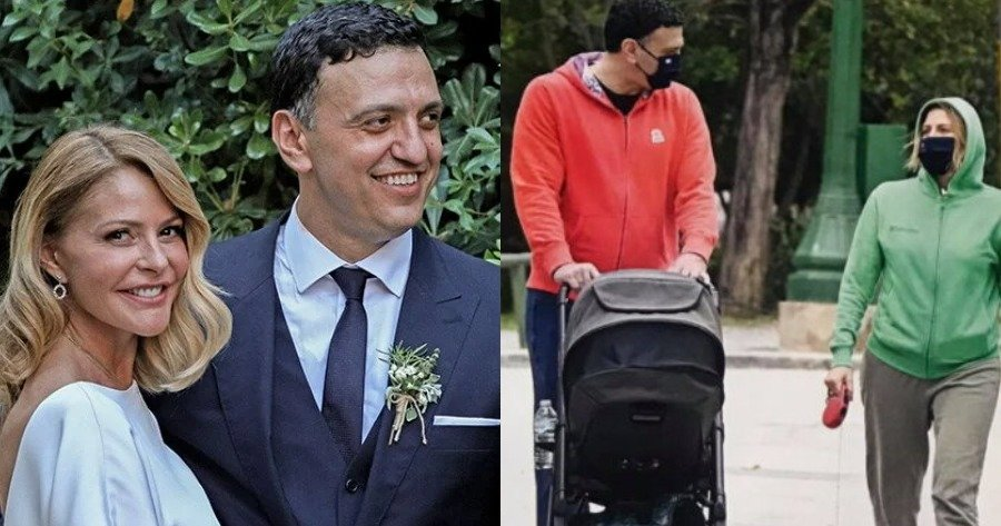 Η βόλτα της Τζένης Μπαλατσινού και του Βασίλη Κικίλια πήγαν βόλτα, με τον γιο τους.
