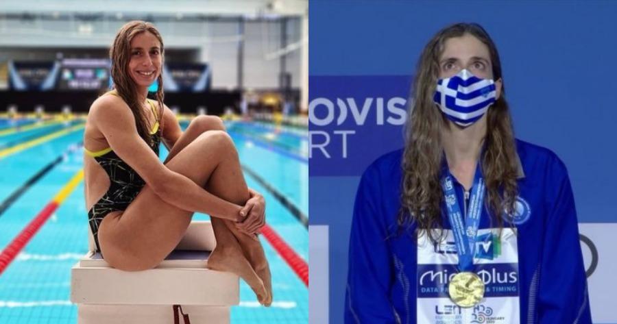 Πρωτιά Άννας Ντουντουνάκη: Η κολυμβήτρια Άννα Ντουντουνάκη που έγινε χρυσή στη Βουδαπέστη.