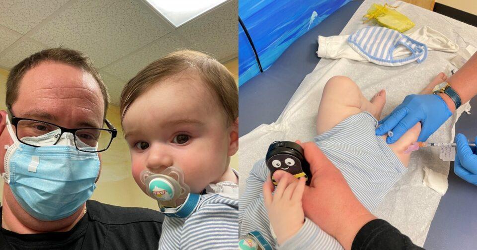 Πραγματοποίηση εμβολίου σε βρέφος: 8 μηνών βρέφος έκανε εμβόλιο.