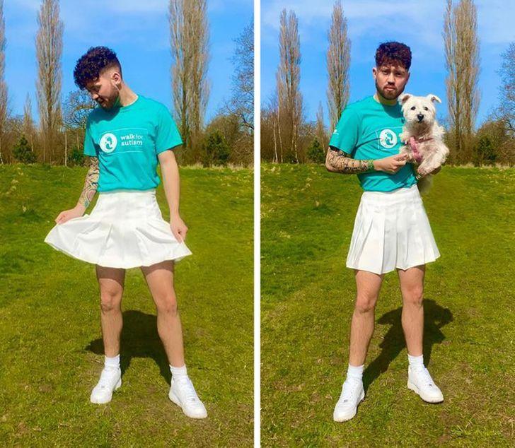 Connor Keaney άντρας με φούστα τέννις