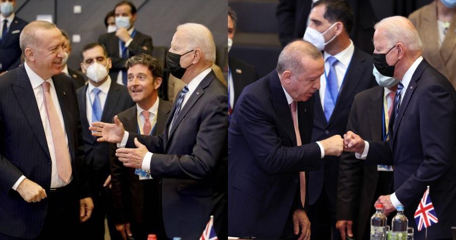 Ρετζέπ Ταγίπ Ερντογάν χαιρετάει τζο Μπάιντεν