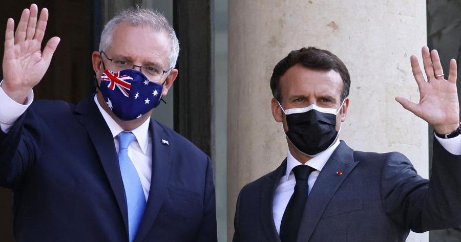 Αυστραλός πρωθυπουργός Μόρισον και Εμμανουέλ Μακρόν